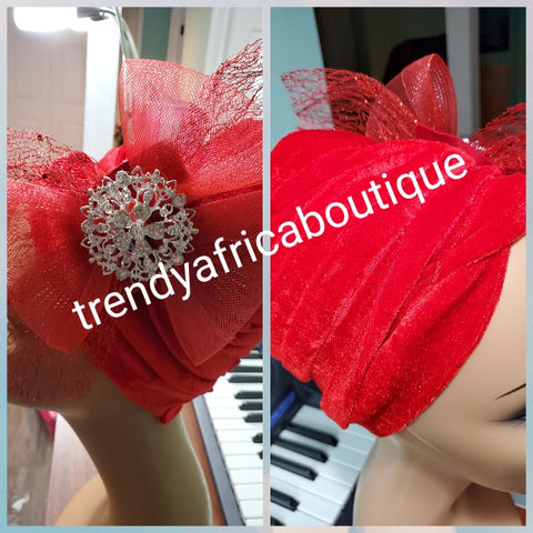 Red velvet Women-turban. One size fit all turban. Beautiful flower side design with a side brooch to add decor to your turban. Soft velvet material
