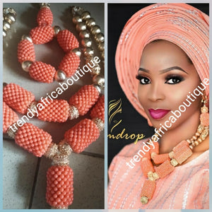 Back in stock: Classic Coral-necklace set. 3pcs set of coral necklace set for Nigerian Bride/Celebrant. Traditional wedding bead for big occasion sold per set. Nice drop coral necklace with gold bead accent