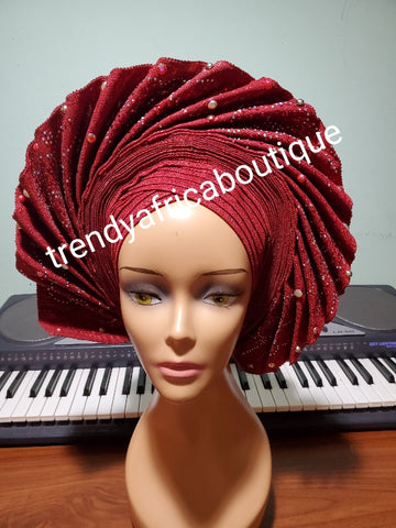 New arrival Wine auto-gele fan design beaded and stoned. made with Nigerian woven  aso-oke.  Party ready in less than 5 minutes. One size fit, easy adjustment at the back