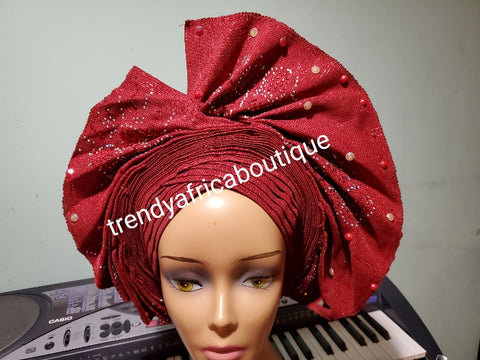 Wine fan design auto-gele beaded and stoned, made with Nigerian woven  aso-oke. Nigeria  gele Party ready in less than 5 minutes. One size fit, easy adjustment at the back