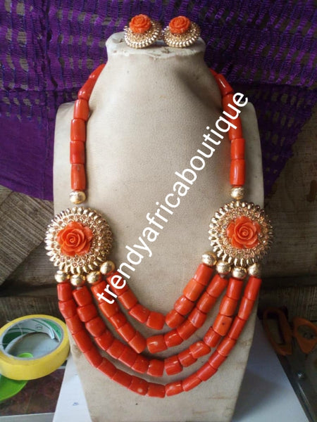 Ready to ship Edo Coral-necklace set for husband and wife. Beautiful rose petal broch + earrings the  lady necklace set. bracelet and matching Ring for Nigerian Traditional ceremony. Special price, Sold as a set