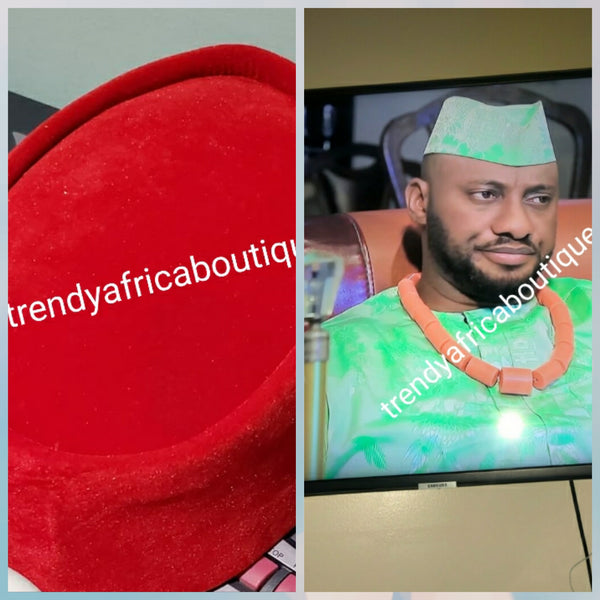 Red suede Cap for the Royals!! Igbo Traditional cap (Aka Red Cap) for ceremonial dress. Men-cap in red suede size 22 inches. Please measure your head circumference for accuracy.
