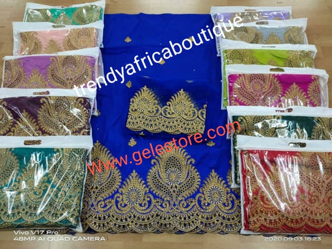 Aso-ebi order:  make per order minimum order 12 pcs. Quality taffeta silk George, Quality embriodery + stone work. 5 yards + 1.8yds matching George. Price is for order 12 pcs and up please. You can choose the color you want. Allow 6-8 weeks.