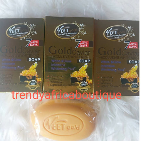 Buy more and save Veet gold  Exclusive gold caviar white and Glow soap. Clearer, brighter complexion with caviar facial treatment soap with glutathione and alpha arbutin clears pimples, sun burn, wrinkles, & dark circles.. 200g soap.