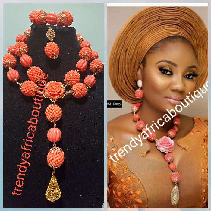 New arrival 2 role coral beaded necklace set with nice, beautiful droping. Coral-necklace set includes earrings and bracelets.  Nigerian Bridal necklace.