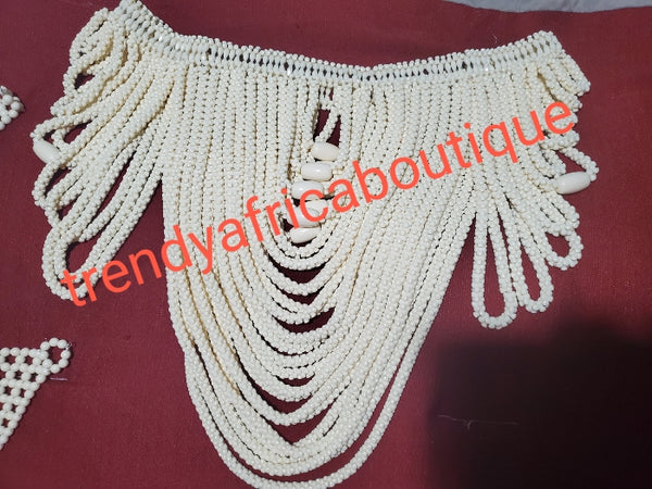 3 pcs set of ivory Nigerian Traditional wedding Bridal Beaded blouse (shawl) , cap, + hand gloves. Edo/Igbo  Bridal Accessories. Sold as a set, price is for the set.