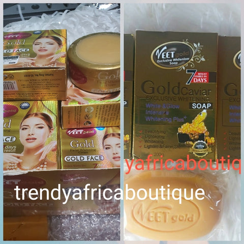 Original Veet gold! Gold facial whitening cream visibly work on dark spots, pimples, acne, anti-aging, anti wrinkles. 7 days result + gold caviar exclusive soap. This shirley like face cream can be use day or night