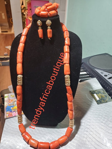 New Arrival Edo/igbo traditional wedding/Ceremonial coral beaded-necklace set.  Includes  bracelet +earrings. Sold as a set, price is for set