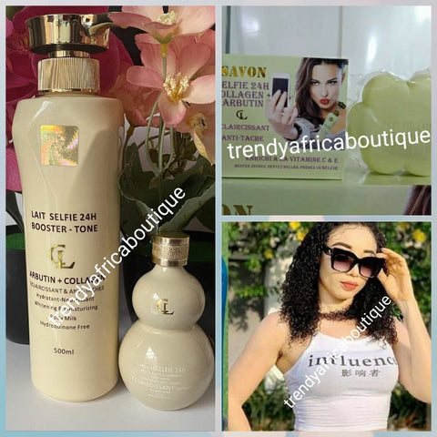 Lait selfie 24h booster tone body lotion 500ml, soap, and serum. Achieve uniform stainless and natural whitening skin glow with modern whitening natural ingredients.  Glutathion, Arbutin + collagen