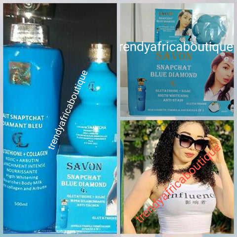 Lait Snapchat diamant blue body lotion 500ml, soap, and serum. Achieve uniform stainless and natural whitening skin glow with modern whitening natural ingredients.  Glutathion + collagen