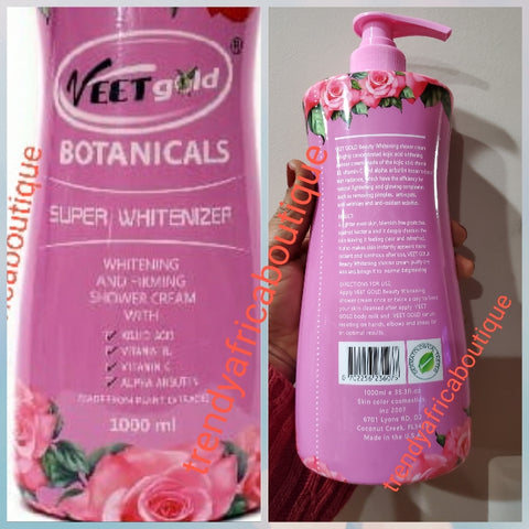 Veet Gold botanical super whitenizer shower gel. With kojic acid, vitamin B3, vitamin C, alpha arbutin 1000ml bottle