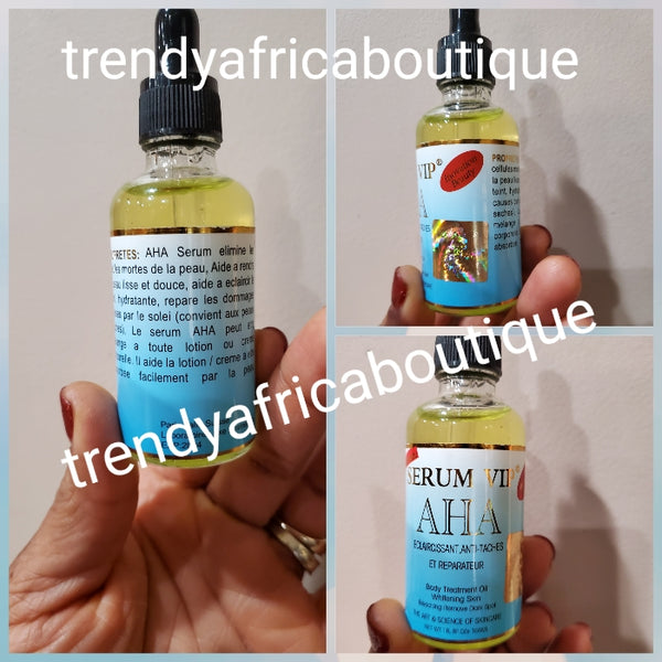 Serum VIP AHA treatment Oil/serum to treat and remove black discoloration, age spots from the skin. You can mix into your body lotion or apply to the affected area 100ml bottle.  Effective anti stains serum