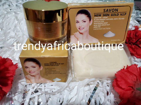 New skin Gold VIP advanced lighting Night face cream 50g. + new skin gold face and body soap. Formulated with kojic + Arbutin