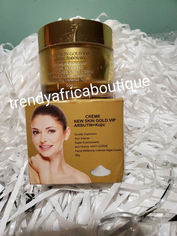 New skin Gold VIP advanced lighting Night face cream 50g. Formulated with kojic + Arbutin