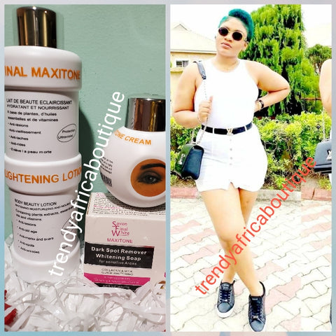 Original final Maxitone lotion set: lotion 500ml,  face cream and soap 200g. formulated with natural ingredients + plant extracts. Whitening/brighten the skin safely. 500ml body lotion.  You will be happy with your skin!