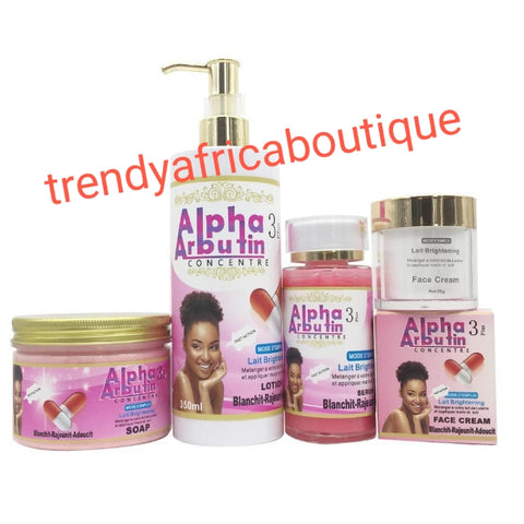 Alpha arbutin 3 Concentrate plus set for skin lightening, brightening, anti spots. Body lotion, face cream, serum, soap