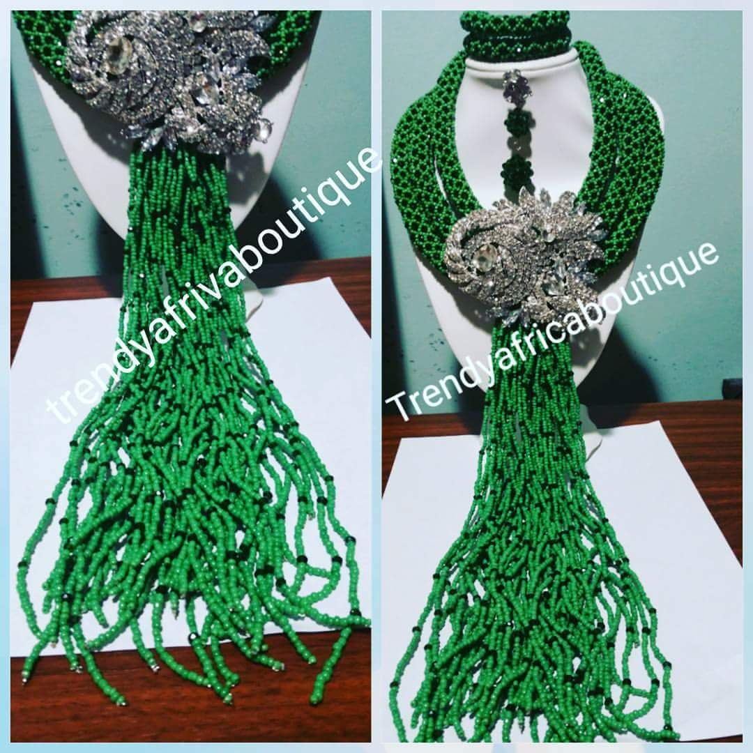 Clearance: Elegant 3 row Green beaded Necklace set. Bold silver broach & multi strings droppings. Coral-necklace set for Nigerian women