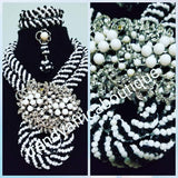 Clearance: Black/white beaded necklace set. Beautiful center piece brooch. Coral-necklace set