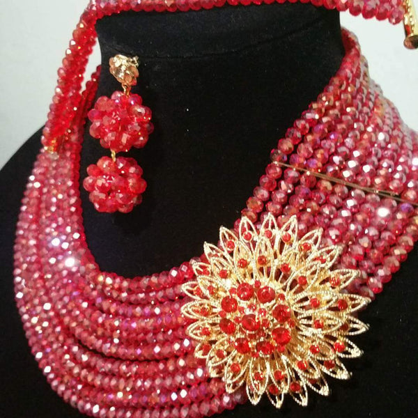 Sale: Red Crystal  beaded necklace set in choker. 10 rows beaded necklace with side broach. Coral-necklace