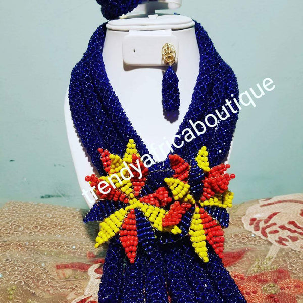 Sale: Royal blue African beaded necklace set with Red/yellow /royal flower broach. Coral-necklace set for Nigerian women