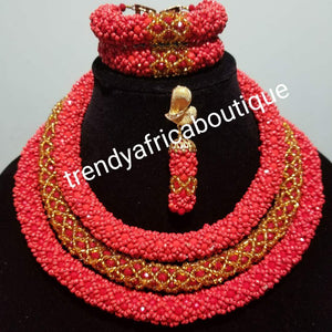 Nigerian traditional wedding Coral beaded-necklace set. 3 rows of red/golf coral-necklace sold as a set of bracelet/earrings and necklace