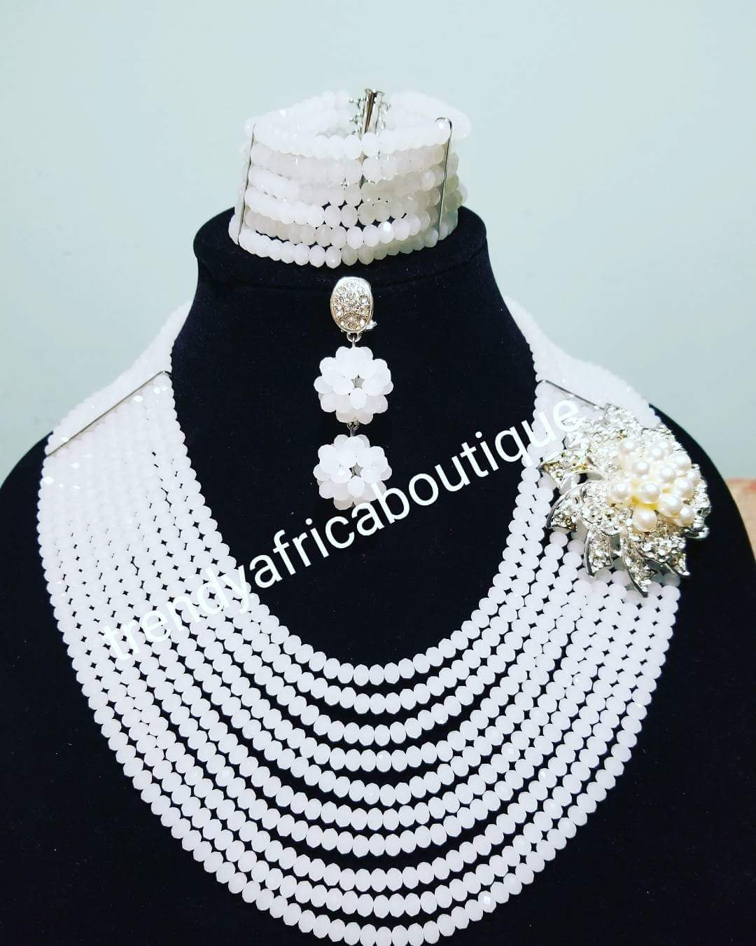 Sale: pure white Bridal crystal multi rows necklace. Beaded Necklace set with a side broach. Also have Coral-necklace sold as a set