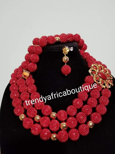 SALE: 3pcs. Hand Beaded-Necklace set. Nigerian/African Traditional  coral-necklace beads. Beautiful Red