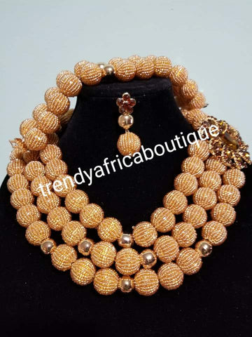 New 3pcs. GOLD Hand Beaded-Necklace set. Nigerian/African Traditional wedding coral-Necklace set.