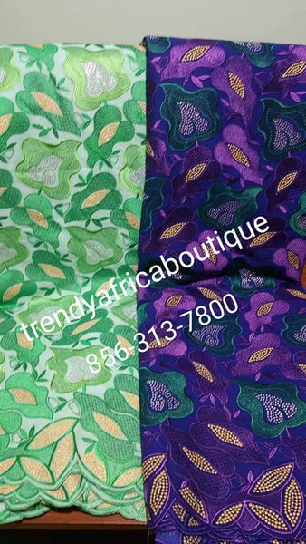 Special offer: Quality Celebrant swiss Voile lace fabric.  Available in mint Green and also Purple color. sold per 5yds. Price is for 5yds