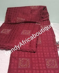 Special offer: Lustrous soft quality wine swiss voile lace fabric for Nigerian Men native outfit. Soft texture fabric crystal stones embellishement. Sold per 5yds. Price is for 5yds. Men traditionally wedding outfit