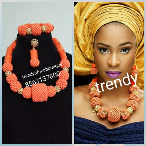 Sale: Nigerian/Edo Coral beaded necklace set. 3pcs traditional Edo coral-necklace set
