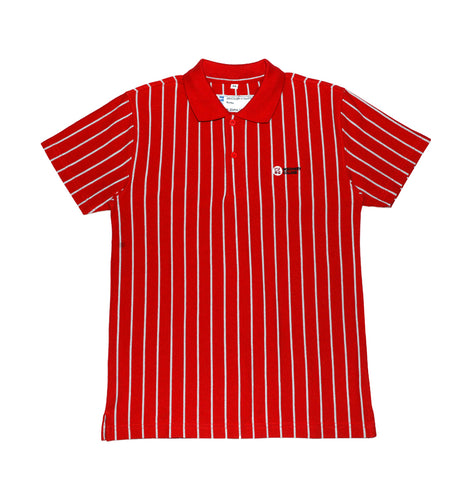 Discovery College Boys Short-sleeved Polo, Red & Grey Stripes - Secondary