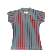 DC Girls Secondary Short-sleeved Polo, Grey with Stripes