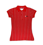DC Girls Secondary Short-sleeved Polo, Red with Stripes