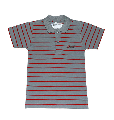 Discovery College Unisex Short-sleeved Polo, Grey & Red Stripes - Primary