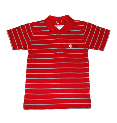 DC Primary Short-sleeved Polo, Red with Stripes