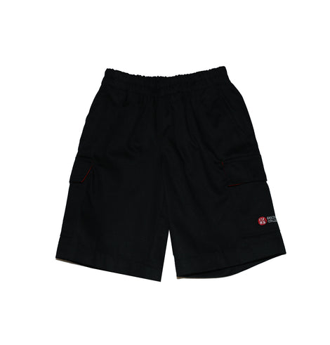 Discovery College Unisex Shorts, Black with elastic waist - Primary