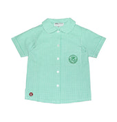 PS Girls Short-sleeved Blouse, Green & White Check Print