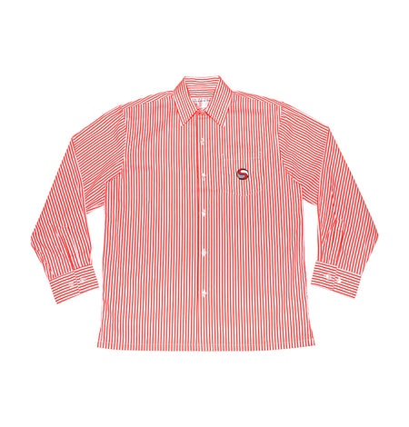 SJS Boys Long-sleeve Shirt, Red & White Stripe