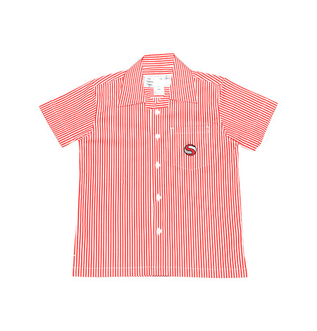 SJS Boys Short-sleeve Shirt, Red & White Stripe