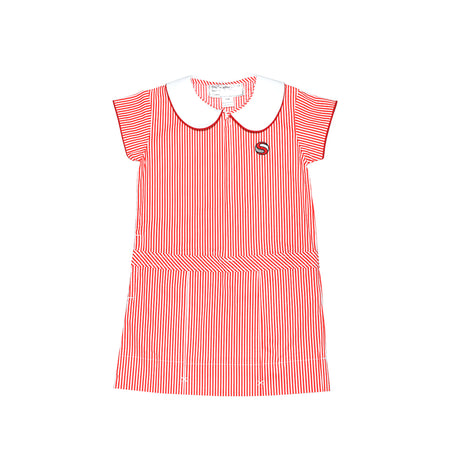 SJS Girls Summer Dress, Red & White Stripe