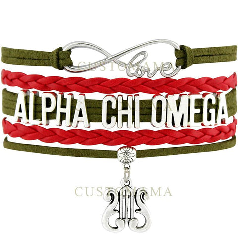 Alpha Chi Omega Custom Leather Bracelet Jewelry - Almighty Jerseys Jersey Customs Greek Life