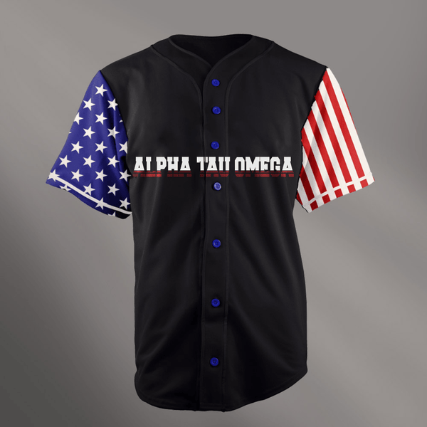 Alpha Tau Omega Black USA Stars and Stripes Baseball Jersey - Almighty Jerseys Jersey Customs Greek Life