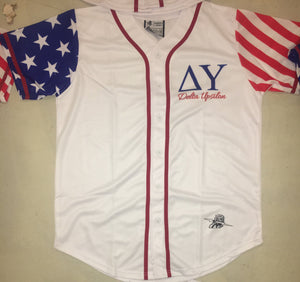 Delta Upsilon USA Stars and Stripes Baseball Jersey - Almighty Jerseys Jersey Customs Greek Life