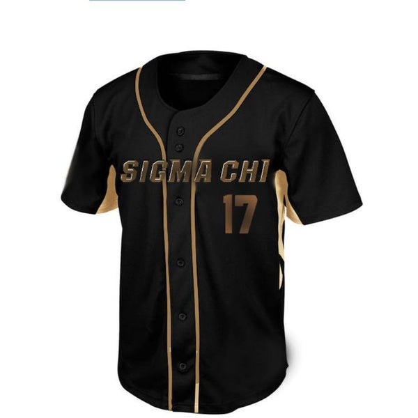 Sigma Chi Black n Gold Baseball Jersey - Almighty Jerseys Jersey Customs Greek Life