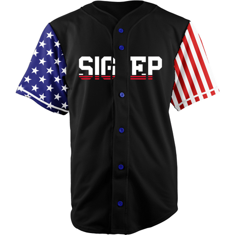Sigma Phi Epsilon Black USA Stars and Stripes Baseball Jersey - Almighty Jerseys Jersey Customs Greek Life