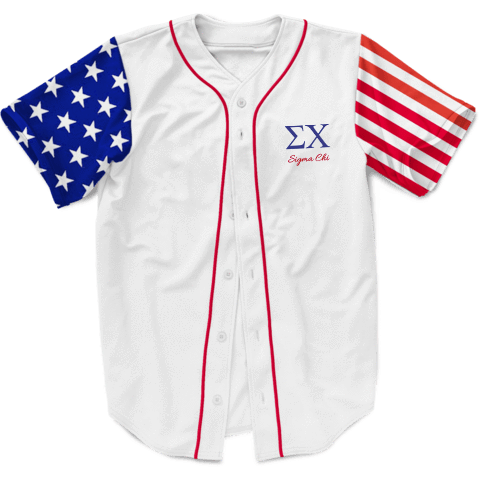 Sigma Chi USA Stars and Stripes Baseball Jersey - Almighty Jerseys Jersey Customs Greek Life
