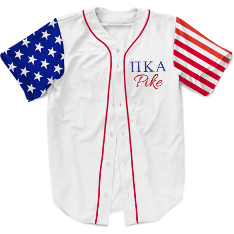 Pi Kappa Alpha USA Stars and Stripes Baseball Jersey - Almighty Jerseys Jersey Customs Greek Life