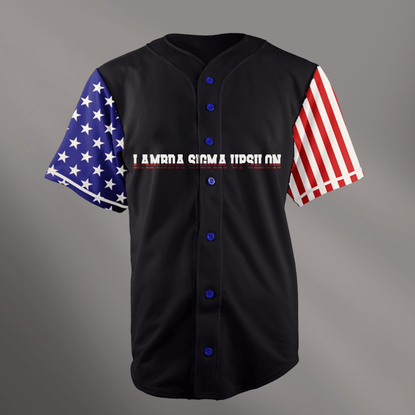 Lambda Sigma Upsilon Black USA Stars and Stripes Baseball Jersey - Almighty Jerseys Jersey Customs Greek Life