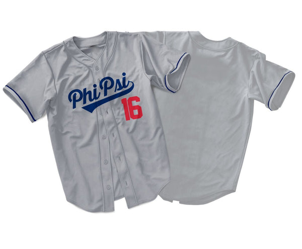 Phi Kappa Psi Gray Dodgers Baseball Jersey - Almighty Jerseys Jersey Customs Greek Life